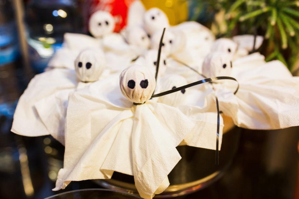 Halloween decoration ghosts lollipops.