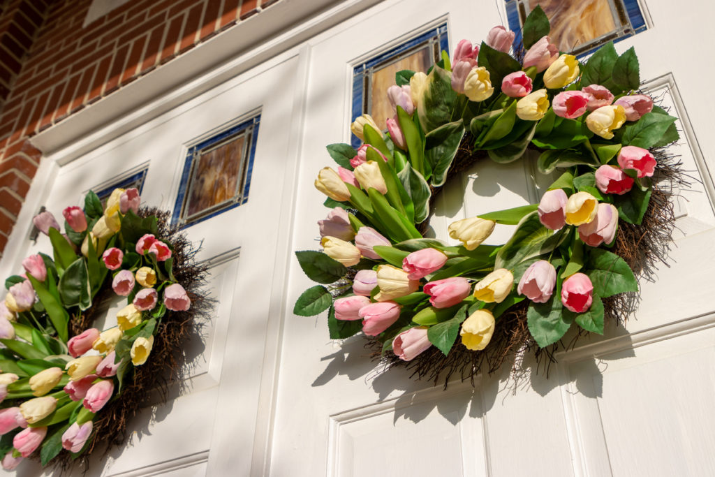 Tulip flower wreaths on doors